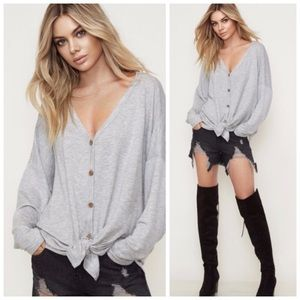 GREY | Button down oversized tie-front top